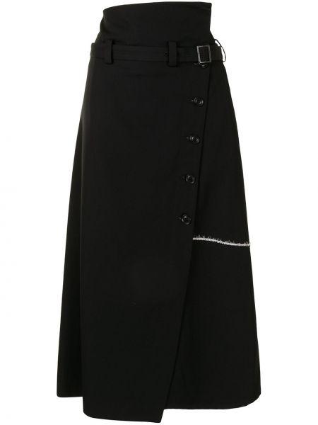 Шерстяная юбка миди - черная Y`s
