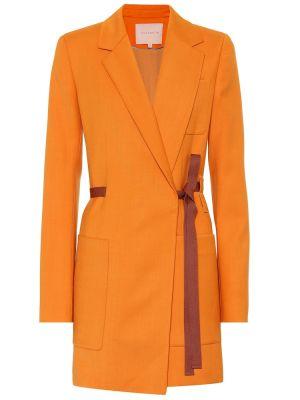 Желтое шерстяное пальто Roksanda