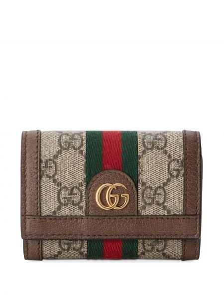 Brązowy skórzany portfel z kieszeniami z paskami Gucci