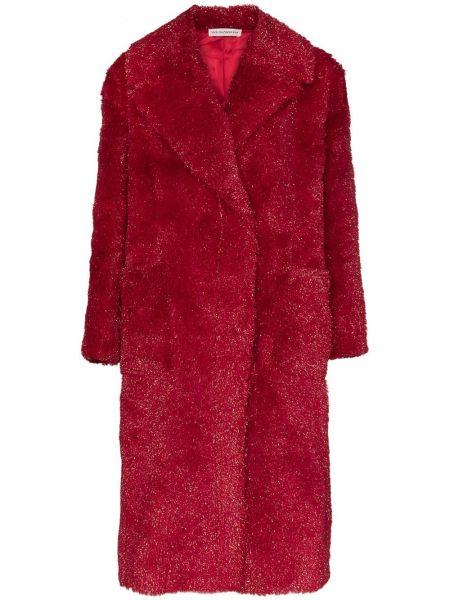 Красное пальто на пуговицах с люрексом с лацканами Vika Gazinskaya