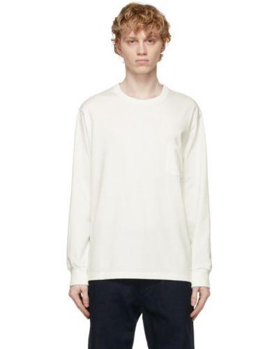 Biały t-shirt z długimi rękawami bawełniany Nanamica