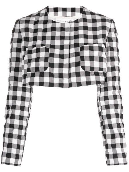 Белый удлиненный пиджак в клетку с вырезом Comme Des Garçons Girl
