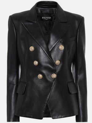 Пиджак кожаный черный Balmain
