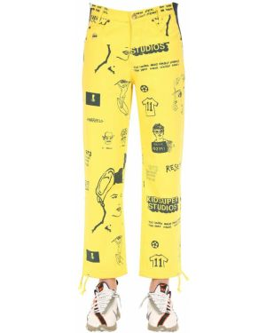 Żółte spodnie skorzane z paskiem Kidsuper Studios