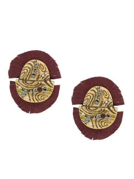 Золотистые желтые серьги металлические с бахромой Camila Klein