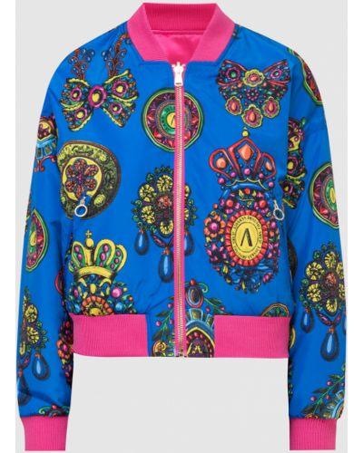 Джинсовая куртка с принтом - синяя Versace Jeans Couture
