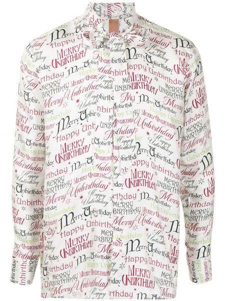 Шелковая белая блузка с бантом Doublet