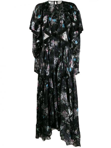 Расклешенное шелковое платье с оборками с вырезом Preen By Thornton Bregazzi