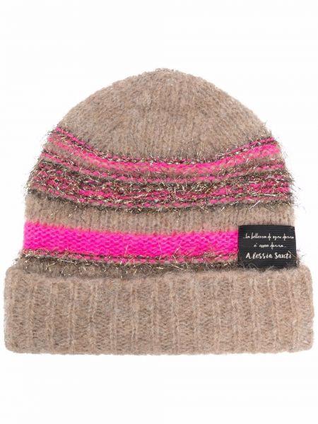 Розовая шапка бини из мохера Alessia Santi