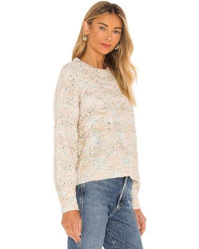 Biały sweter w paski z akrylu Minkpink