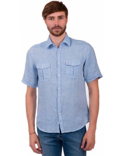 Льняная с рукавами рубашка с карманами Calamar