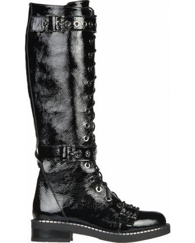 Кожаные сапоги - черные L'estrosa