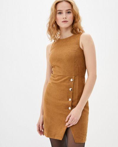 Коричневое кожаное платье Trendyol