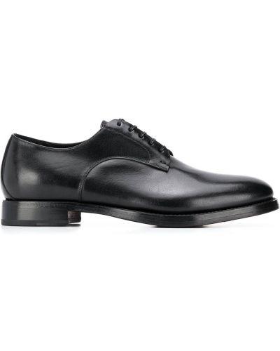 Кожаные черные туфли на шнуровке на шнуровке на плоской подошве Silvano Sassetti