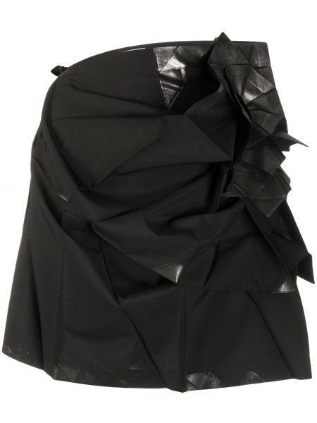 Czarna spódnica mini z falbanami asymetryczna 132 5. Issey Miyake