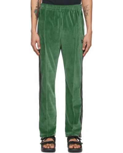 Зеленые брюки в полоску с карманами Needles