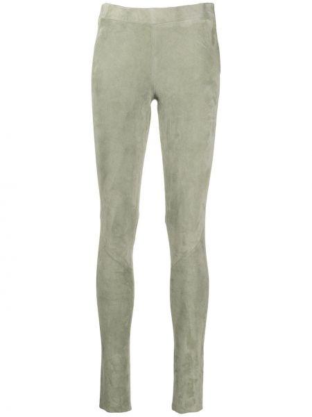 Зеленые кожаные облегающие брюки на молнии Incentive! Cashmere