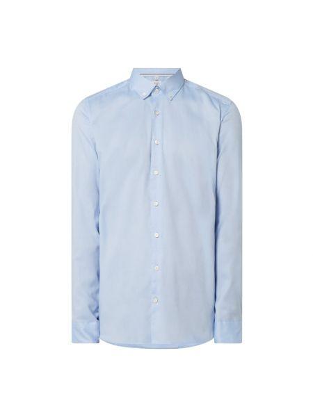 Niebieski bawełna bawełna z rękawami koszula oxford Olymp Level Five