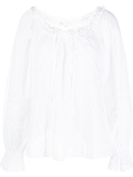 Кружевная белая блузка в горошек Loveshackfancy
