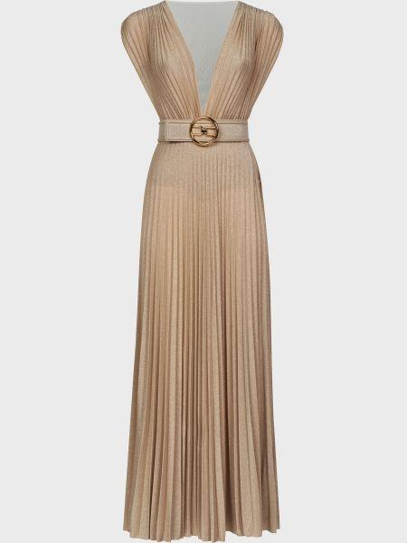 Бежевое платье с поясом из вискозы Elisabetta Franchi