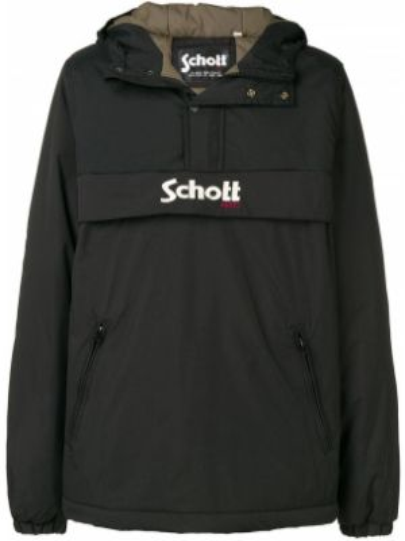 Czarna kurtka z kapturem z haftem Schott