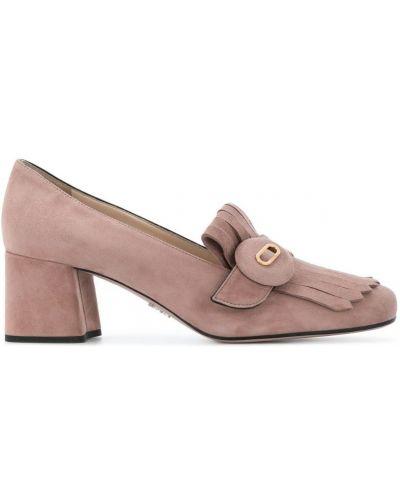 Туфли на низком каблуке с бахромой Prada