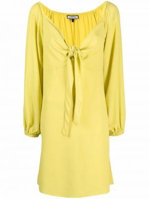 Żółta sukienka midi z długimi rękawami z jedwabiu Fisico