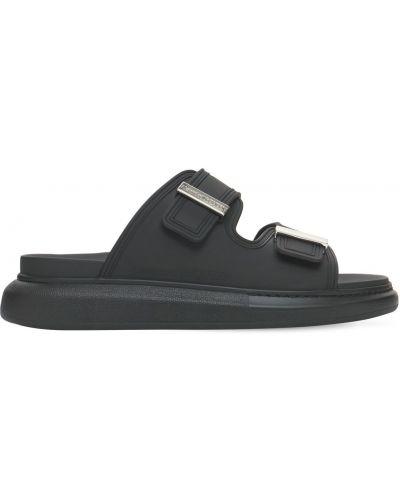 Czarne sandały z klamrą Alexander Mcqueen