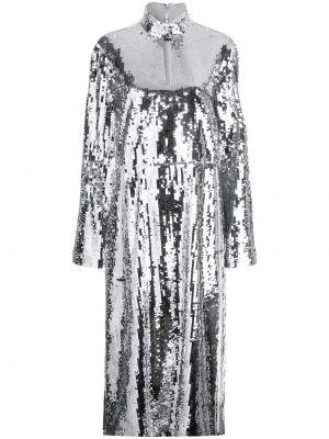 Серебряное с рукавами платье миди с пайетками Tibi