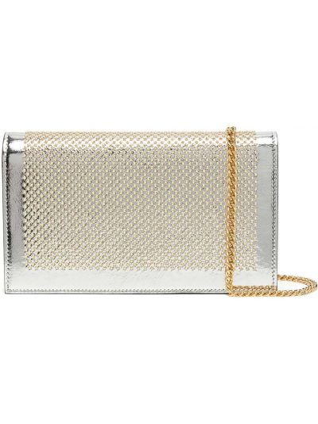 С ремешком серебряный кожаный сумка на цепочке Casadei