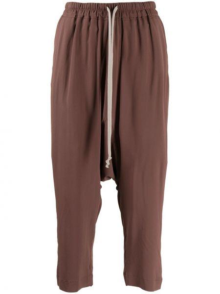 Brązowe spodnie z jedwabiu Rick Owens