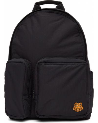Czarny plecak skórzany z haftem Kenzo