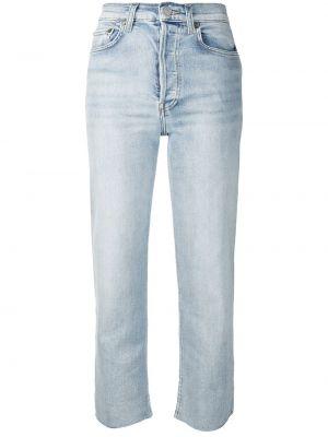 Bawełna niebieski jeansy do kostek z kieszeniami zabytkowe Re/done