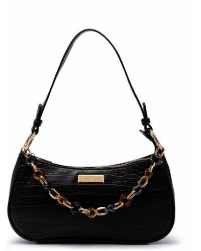 Черная кожаная сумка на цепочке с карманами Carvela