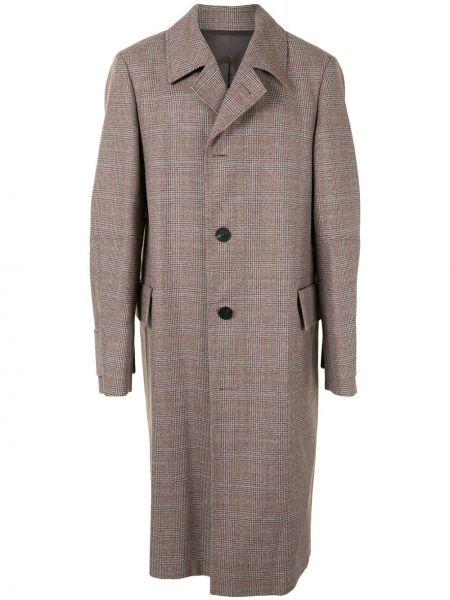 Однобортное шерстяное пальто классическое с воротником на пуговицах Wooyoungmi