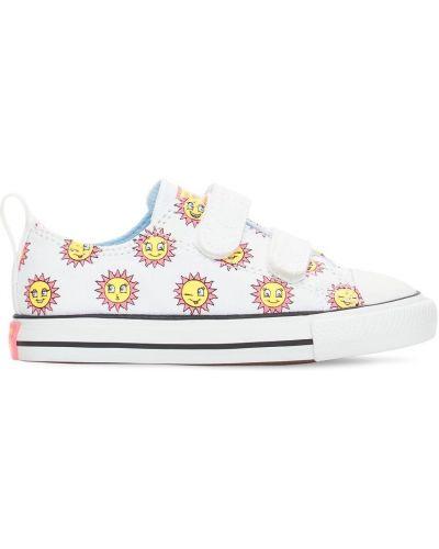 Хлопковые белые кеды на липучках Converse