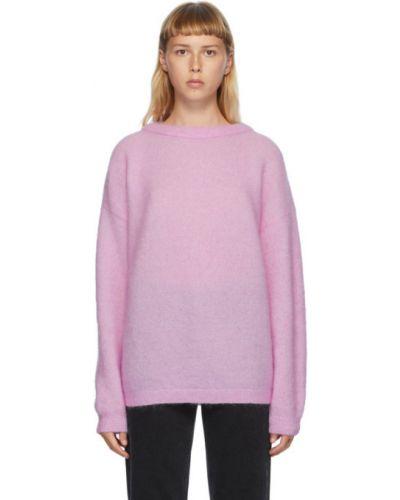 Розовый свитер оверсайз из мохера с воротником с длинными рукавами Acne Studios