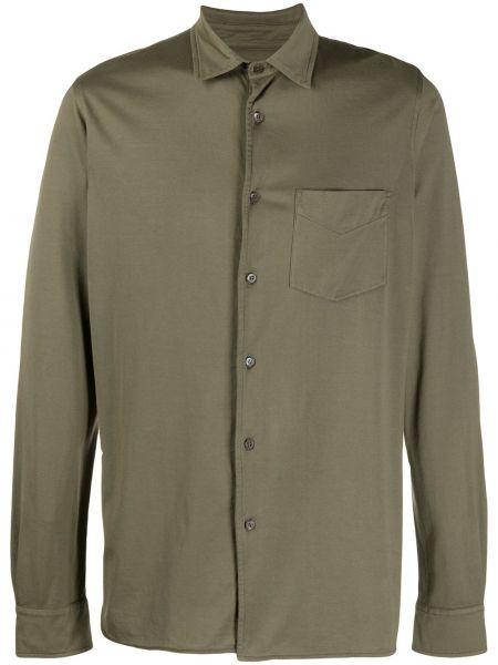 Koszula z długim rękawem klasyczna zielona Aspesi