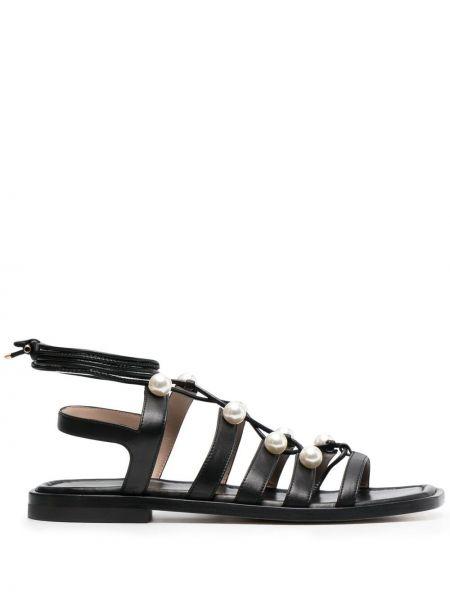 Черные кожаные сандалии на шнуровке Stuart Weitzman
