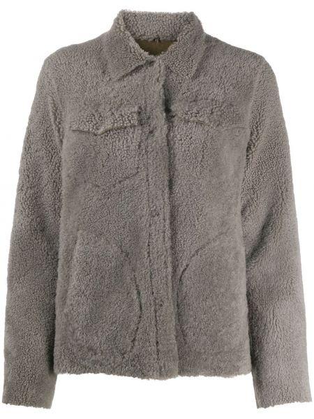 Серое кожаное длинное пальто с карманами Giorgio Brato