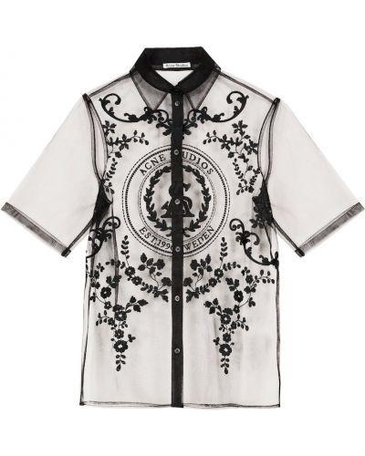 Черная рубашка с вышивкой из фатина Acne Studios