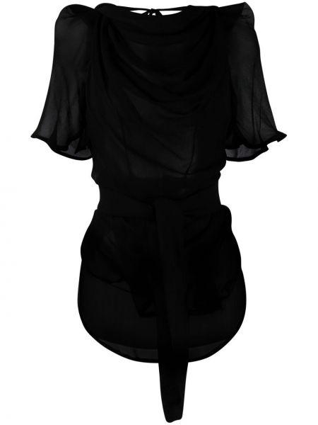 Шелковый открытый черный топ Vivienne Westwood