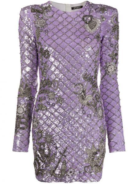 Шелковое платье мини - фиолетовое Balmain