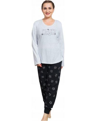 Czarna piżama bawełniana z długimi rękawami Vienetta
