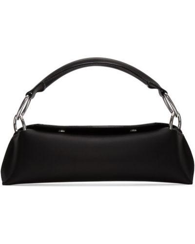 С ремешком черная кожаная сумка из натуральной кожи Venczel