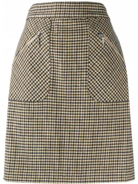 Шерстяная черная юбка мини с карманами Alexa Chung