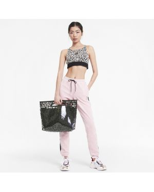 Черная текстильная сумка шоппер с бахромой на молнии Puma