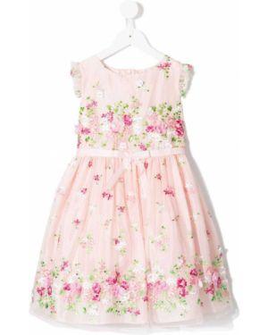 Розовое платье с рукавами с вырезом круглое на молнии Lesy