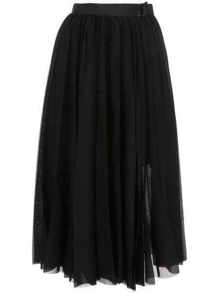 Черная с завышенной талией юбка миди в рубчик с поясом Sacai