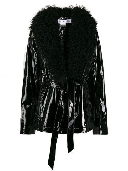 Лаковая черная кожаная короткая куртка Saks Potts
